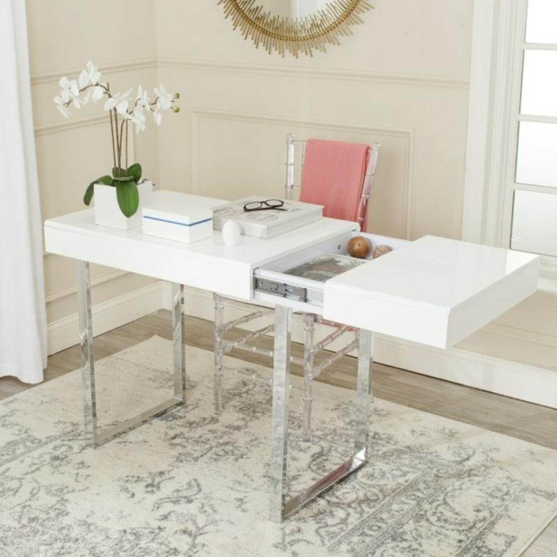 stilvoller Schreibtisch mit Metallbeinen ausklappbar