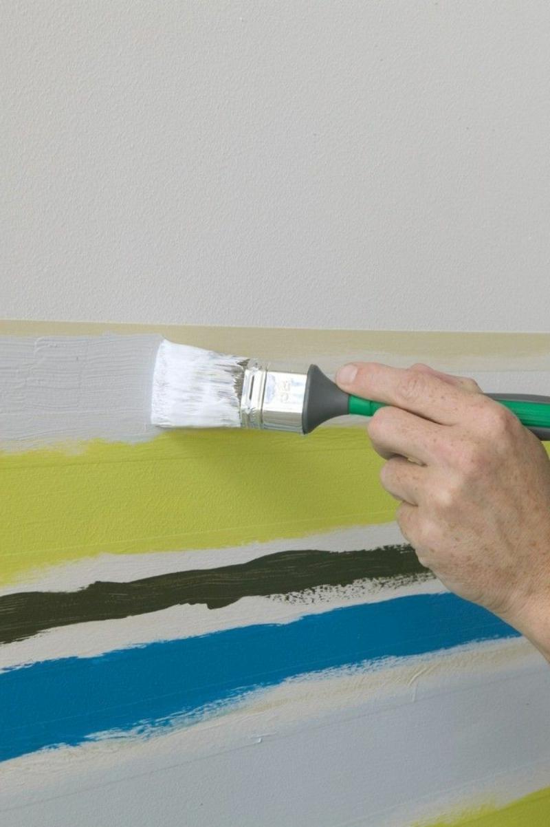 Wand streichen Muster Streifenmuster
