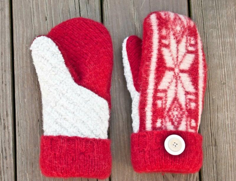 warme Winterhandschuhe rot weiß