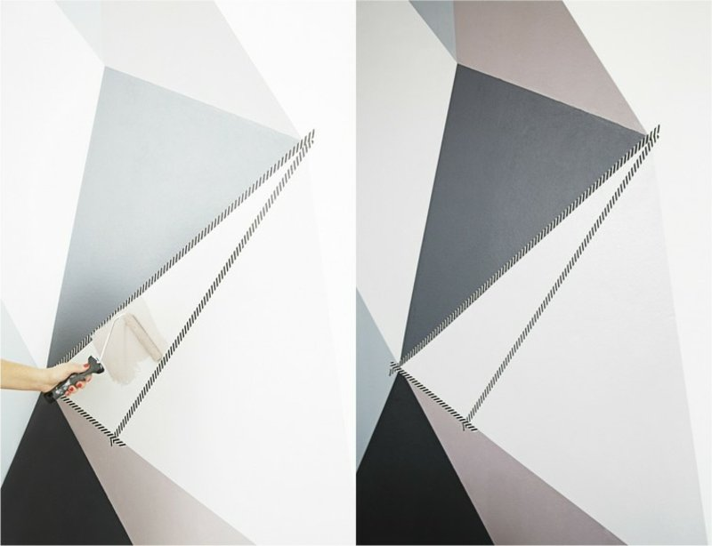 Wand streichen Muster geomatrisch mit Klebeband