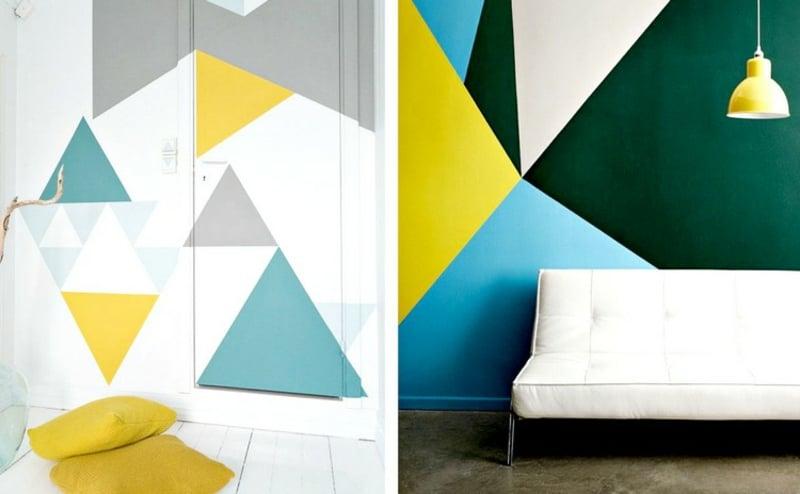 Wandgestaltung mit Farbe geometrische Motive interessant
