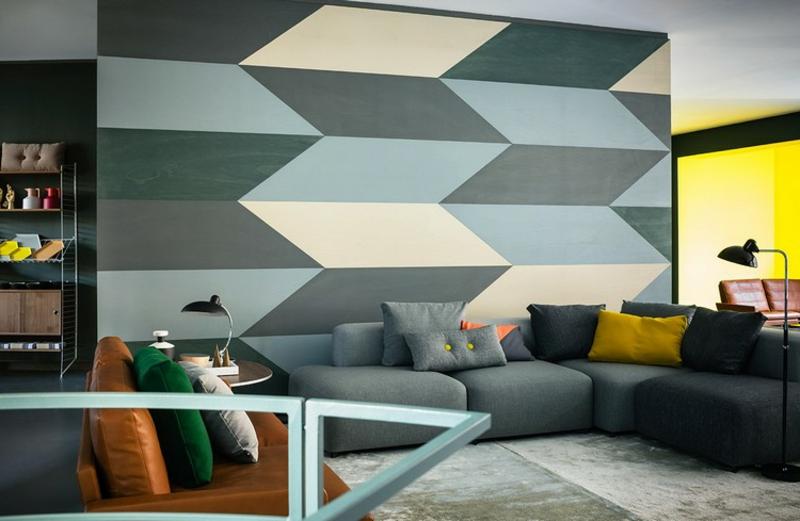 Akzentwand Wohnzimmer geometrische Motive