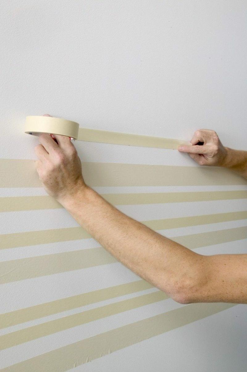 Wand streichen Muster Klebeband nutzen