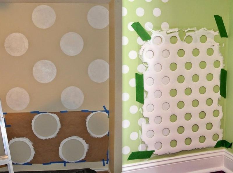 Wand streichen Muster Schablone verwenden