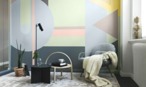 Wand streichen Muster geometrisch