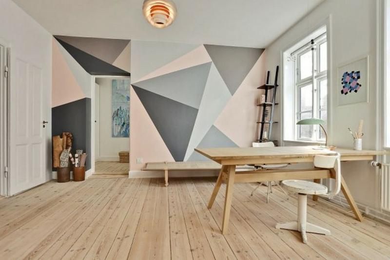 Wand streichen Muster tolle geometrische Motive