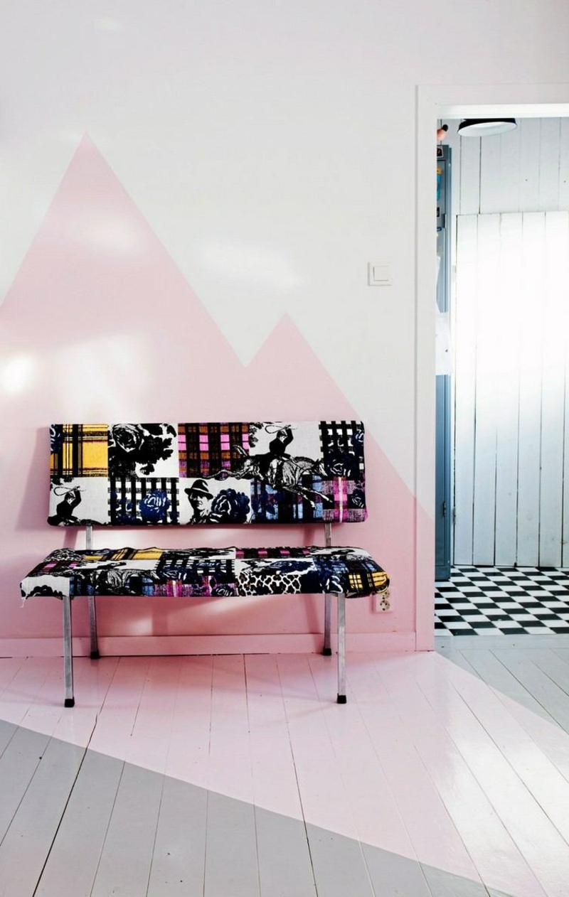 Wand streichen Muster rosa Dreiecke