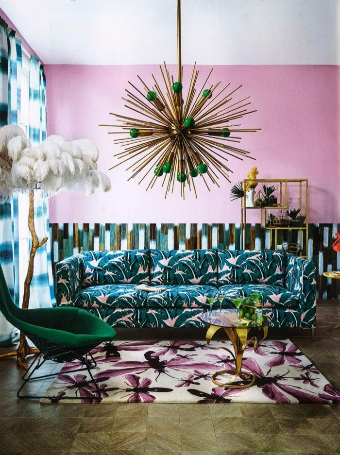eklektischer Einrichtungsstil rosa Wandfarbe Wohnzimmer