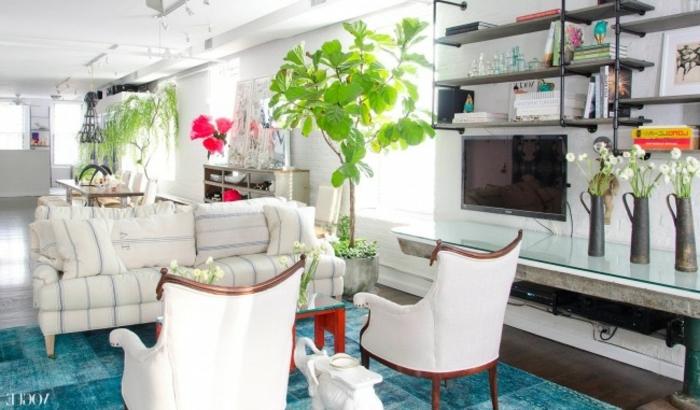 Wohnzimmer stilvolle Einrichtung Zimmerpflanzen