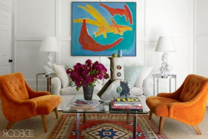eklektischer Einrichtungsstil Perser Teppich Wohnzimmer