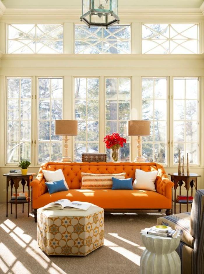 Wohnzimmer Sofa orange herrlicher Look