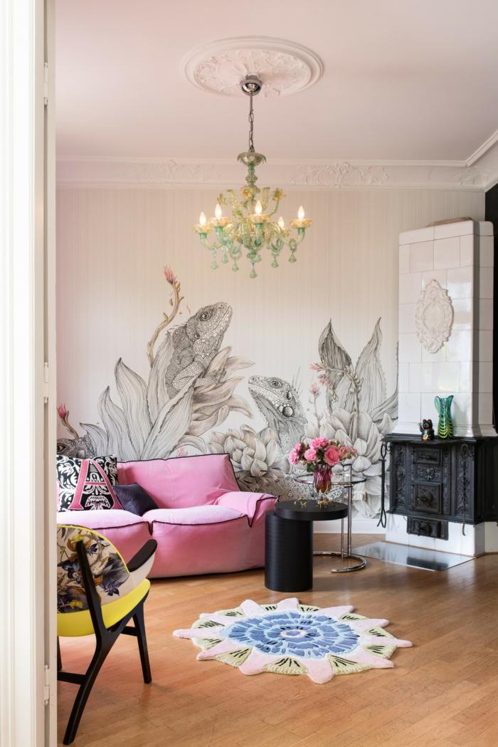 eklektischer Einrichtungsstil originelle Wandgestaltung