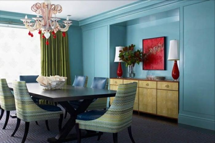 eklektischer Einrichtungsstil Esszimmer Wandfarbe Pastellblau